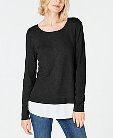 I.N.C. Layered-Look Sweater, Created for Macy's