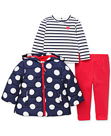 Little Me Baby Girls 3-Pc. Hooded Jacket, Striped T-Shirt & Pants Set