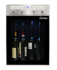 Vinotemp Winesteward Four-Bottle Wine Dispenser, Stainless Steel
