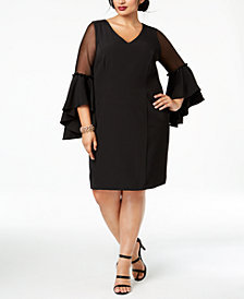 MSK Plus Size Bell-Sleeve A-Line Dress