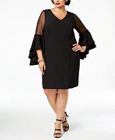 MSK Plus Size Bell-Sleeve A-Line Dress