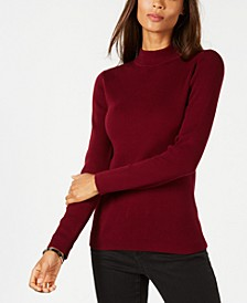 Petite Solid Ribbed Mock-Neck Sweater, Created for Macy's