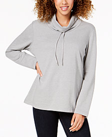 Karen Scott Petite Funnel-Neck Sweatshirt, Created for Macy's