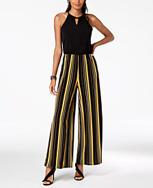 I.N.C. Petite Striped-Leg Keyhole Jumpsuit, Created for Macy's
