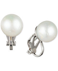 Carolee Silver-Tone Freshwater Pearl (10mm) Clip-On Stud Earrings
