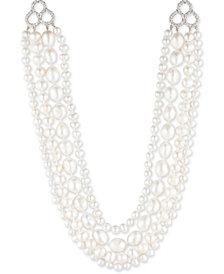 "Carolee Silver-Tone Crystal, Imitation & Freshwater Pearl (4-12mm) 16"" Multi-Row Necklace"