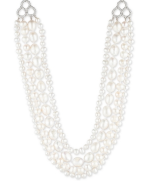 """Carolee SILVER-TONE CRYSTAL, IMITATION & FRESHWATER PEARL (4-12MM) 16"""" MULTI-ROW NECKLACE"""