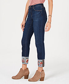 Style & Co Flower-Embroidered Cuff Slim Ankle Jeans, Created for Macy's