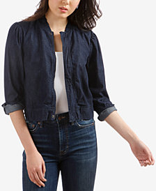 Lucky Brand Cotton Denim Bomber Jacket