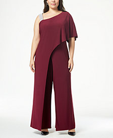 R & M Richards Plus Size Asymmetrical Jumpsuit
