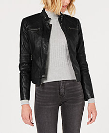 Maralyn & Me Juniors' Faux-Leather Moto Jacket