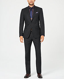 Tallia Men's Big & Tall Slim-Fit Stretch Black/White Pindot Wool Suit
