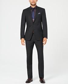 Tallia Men's Slim-Fit Stretch Black/White Pindot Wool Suit