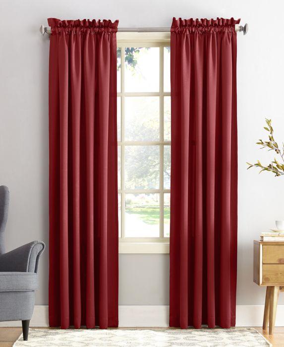 "84""x54"" Seymour Energy Efficient Room Darkening Rod Pocket Curtain Panel Red - Sun Zero"