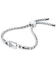 Michael Kors Women S Custom Sterling Silver Pave Cord Bracelet
