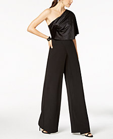 Adrianna Papell Petite Draped Velvet One-Shoulder Jumpsuit