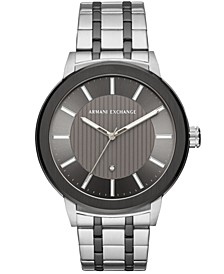 Men's Maddox Genuine Diamond-Accent Two-Tone Stainless Steel Bracelet Watch Created for Macy's  46mm
