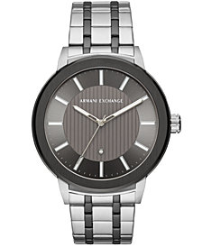 A|X Armani Exchange Men's Maddox Diamond-Accent Two-Tone Stainless Steel Bracelet Watch Created for Macy's  46mm