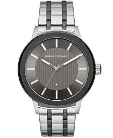 A|X Armani Exchange Men's Maddox Genuine Diamond-Accent Two-Tone Stainless Steel Bracelet Watch Created for Macy's  46mm