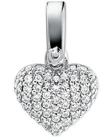 Michael Kors Women's Custom Kors Sterling Silver Pave Heart Charm