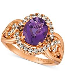 Amethyst (2-1/2 ct. t.w.) & Diamond (1/2 ct. t.w.) Ring in 14k Rose Gold