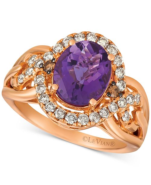 Le Vian Amethyst (2-1/2 ct. t.w.) & Diamond (1/2 ct. t.w.) Ring in 14k Rose Gold
