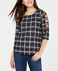 BCX Juniors' Printed Lattice-Sleeve Top