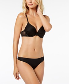 DKNY Modern Lines Striped-Trim Bra & Thong