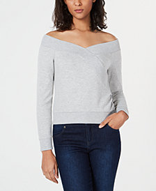 Bar III Off-The-Shoulder Sweatshirt, Created for Macy's