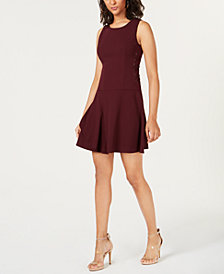 Bar III Tiered Lace-Up Dress, Created for Macy's