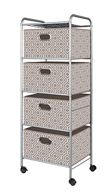 4-Drawer Storage Cart, Beige Bins