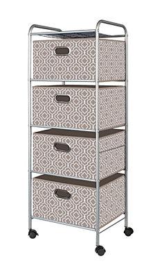 4-Drawer Storage Cart, Beige Bins