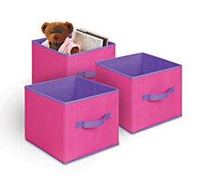 3-Pack Textured Bins, Pink