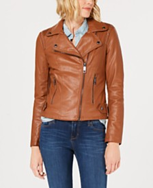 GUESS Studded Faux-Leather Moto Jacket, Created for Macy's