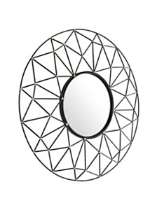 """35"""" Round Geometric Frame Mirror with Gold Accents"""