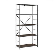 """63"""" Rustic Metal and Wood Media Bookshelf - Dark Walnut"""