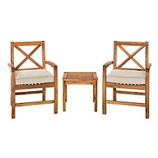 Acacia Wood Patio Chairs with X-Design and Side Table - Brown