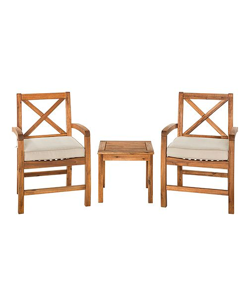 Fine Acacia Wood Patio Chairs With X Design And Side Table Brown Lamtechconsult Wood Chair Design Ideas Lamtechconsultcom