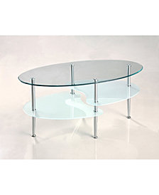 Modern Dual Oval Top Glass Coffee Table