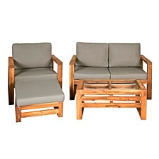 Outdoor Classic Contemporary Open Side 4-Piece Outdoor Patio Chat Set