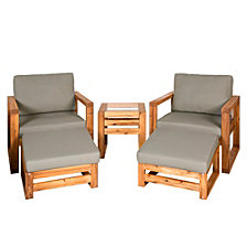 Outdoor Classic Contemporary Open Side 5-Piece Patio Chat Set