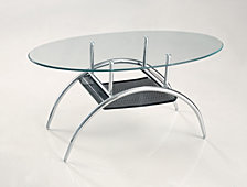 Modern Glass and Metal Oval Coffee Table