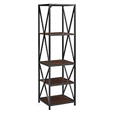 Metal X Tower with Wood Shelves -Dark Walnut