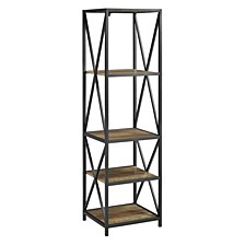 Metal X Tower with Wood Shelves -Rustic Oak