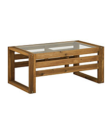 "36"" Outdoor Classic Contemporary Acacia Wood Open Side Wood Coffee Table - Brown"