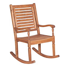 Solid Acacia Wood Outdoor Patio Rocking Chair - Brown
