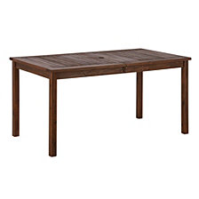 "60"" Outdoor Modern Acacia Wood Patio Simple Dining Table - Dark Brown"