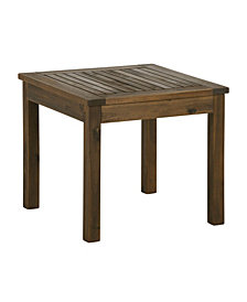 "20"" Outdoor Wood Patio Simple Side Table - Dark Brown"