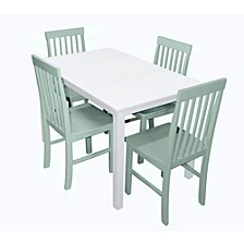 5-Piece Mid-Century White Wood Kitchen Dining Table Set with Sage Chairs