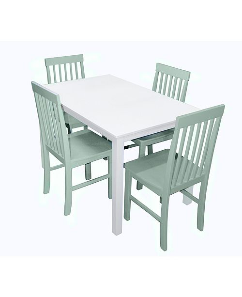 5 Piece Mid Century White Wood Kitchen Dining Table Set With Sage Chairs